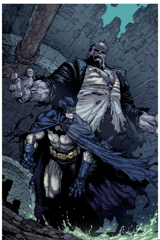 Batman and Solomon Grundy line-art by Michael Brou by angelrd24