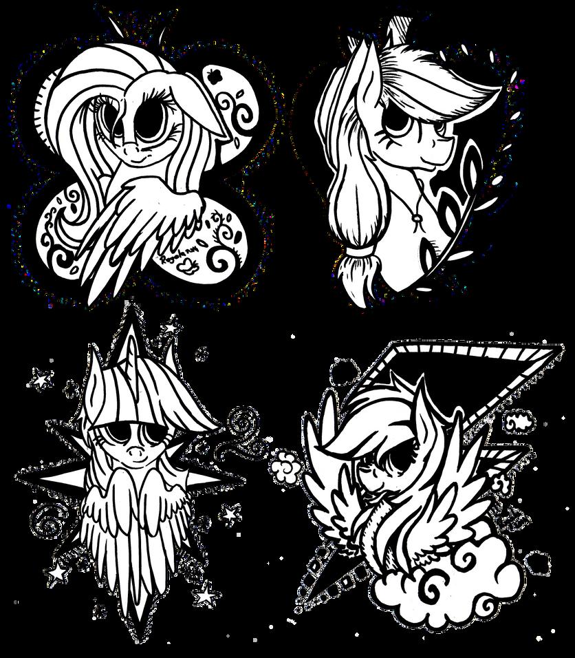 Four mares of harmony - Shy, AJ, Twi, Dash by Julunis14