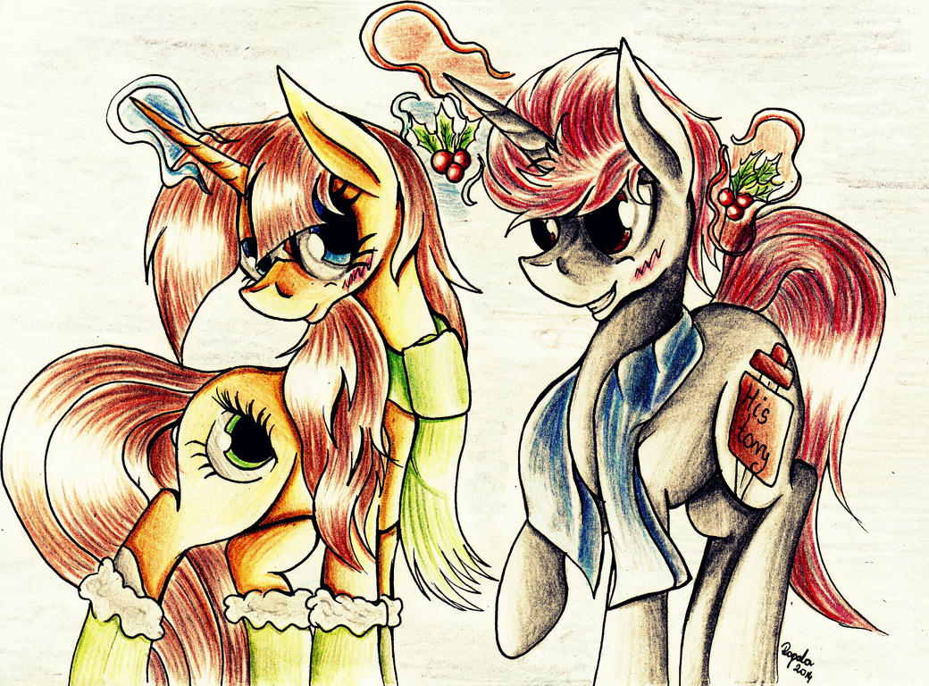 ''Oh, you have a mistletoe... too... '' by Julunis14