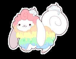 [SPECIES] Rainbow Cake Flufferbun by fluffableadopts