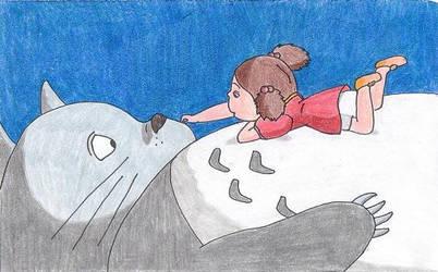 Mei on Totoro by Goldenjellybean