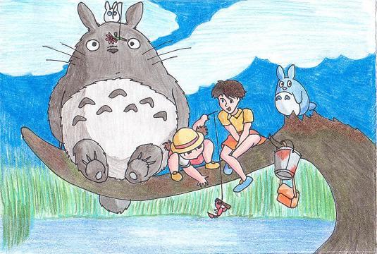Mei, Satsuki and Totoro by Goldenjellybean