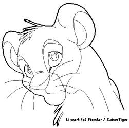 Lion Cub Lineart - headshot