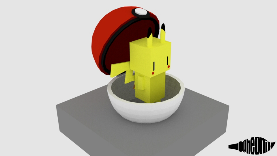 Cube pikachu in a Pokeball by WFpeonix