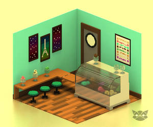 Mini ice cream Shop in Voxel by WFpeonix