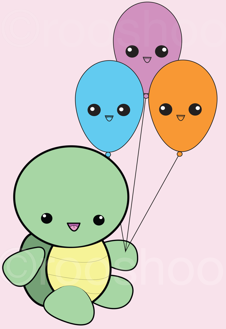 Kawaii Turtle with Balloons by rooshoo on DeviantArt