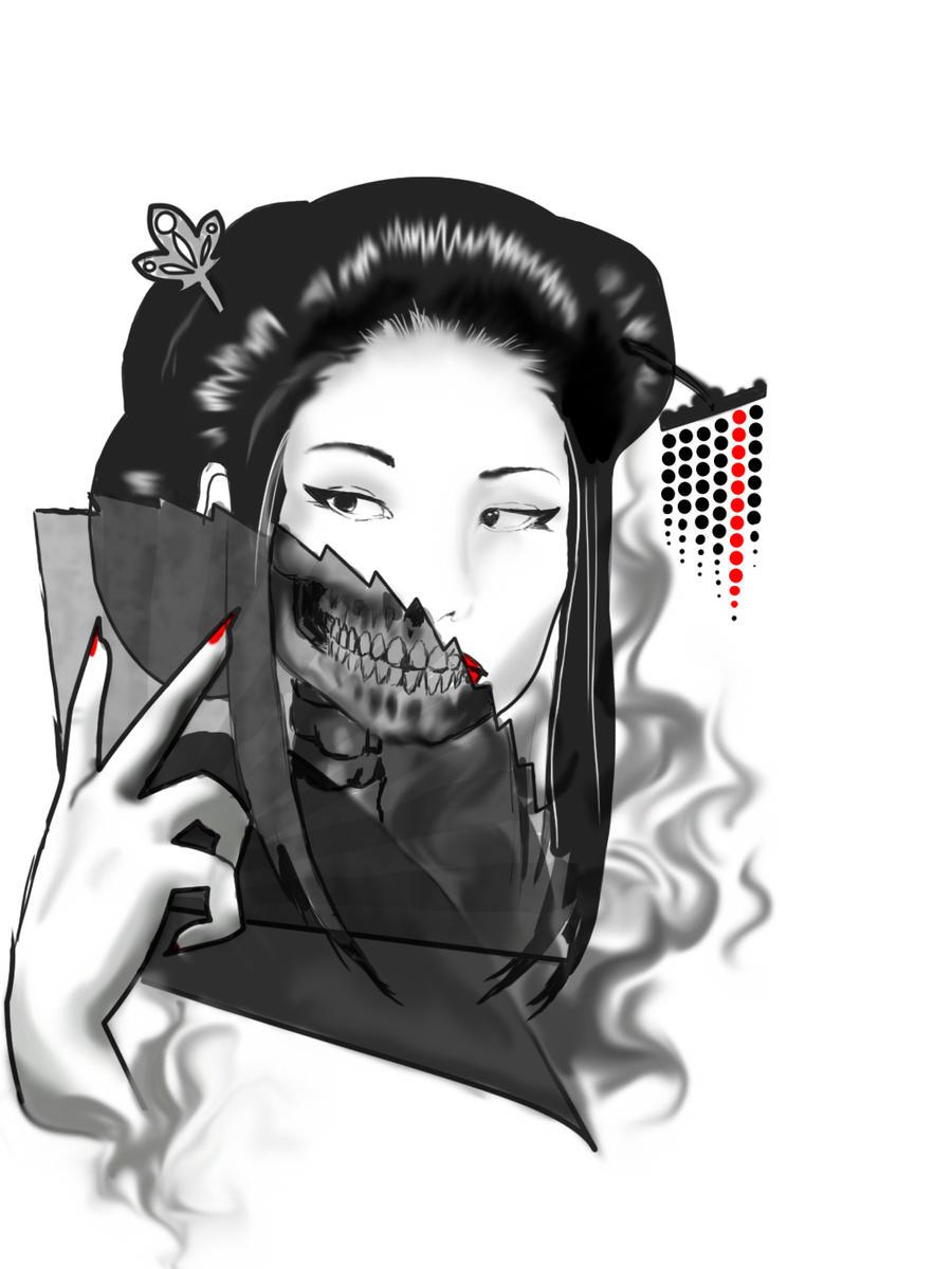 undead geisha by jennaleeauclair on deviantart. Black Bedroom Furniture Sets. Home Design Ideas