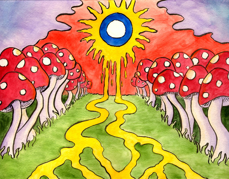 Trippy Pictures Mushrooms Trippy mushroom painting by