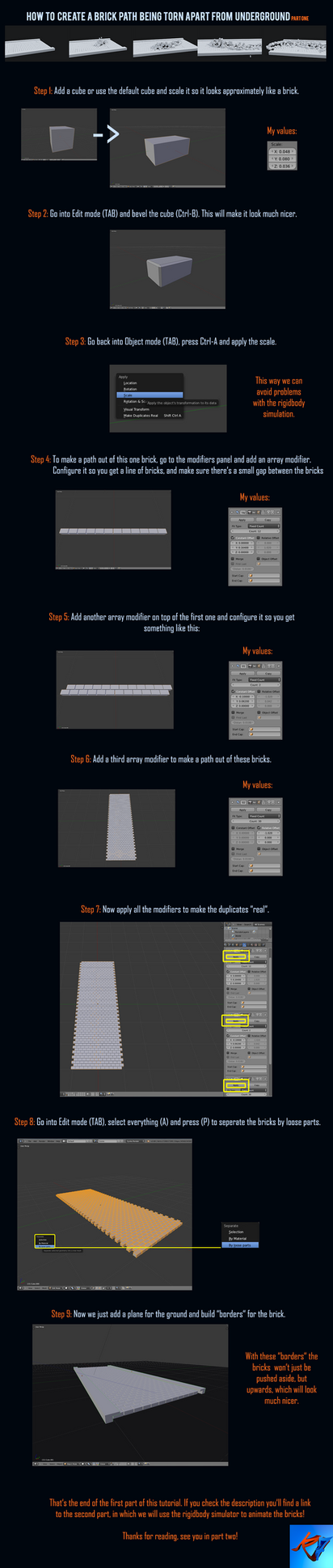 Part 1| Brick Path - Blender Tutorial by K4VE