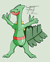 Pokemon sticker 6: Sceptile by Flowfell