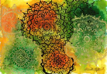Golden and Black Mandalas by Helviriitta