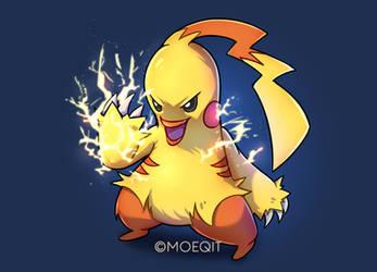 Pokemon Fusion #1 | Pikachu x Combusken by moeqit