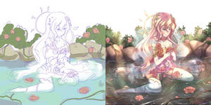 Sketch vs Finished drawing #2 by PyonSangSang