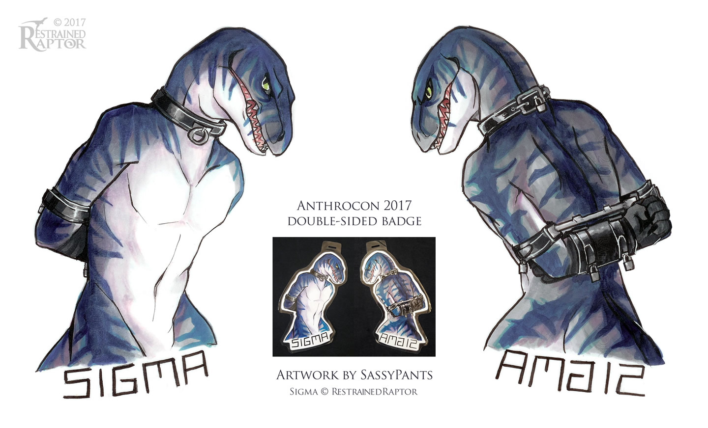 Anthrocon 2017 Con Badge by SassyPants by RestrainedRaptor