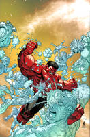 RED HULK vs ICEMAN by MarteGracia