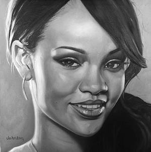 Rihanna - oil on canvas 16 x16 inches