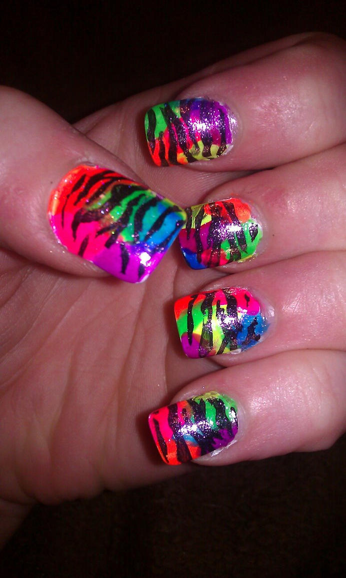 Neon rainbow zebra nails by Angie85 on DeviantArt