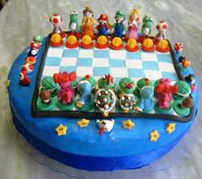 Super mario - chess-  cake by anafuji