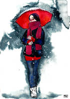 Red Umbrella by ExIllustrated
