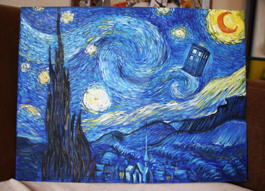 ... Starry Night Tardis Wallpaper: Doctor Who Van Gogh Style Starry Night With TARDIS By ...