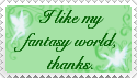 """I like my world"" Stamp by MotleyDreams"