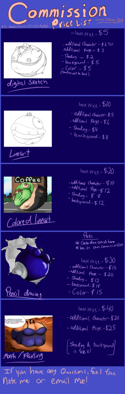 Commission Price List Winter AND Spring 2018 by berry-duke96