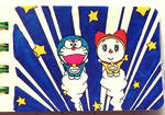 Doraemon and Dorami chibi : Head to the space