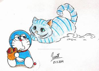 Doraemon and Cheshire Cat