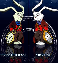 My OC character : E.B - Traditional Vs Digital