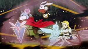 Commission Art : Battle in the dark forest by doraemonbasil