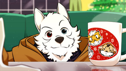 Commission Art : White wolf and his new coffee cup