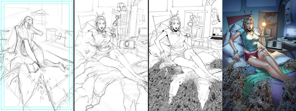 Tales of Terror vol 2 #3 cover process by fragcomics