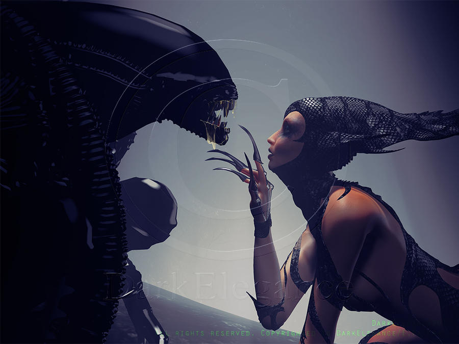 Beauty and the Beast In honor of HR Giger by Art-of-DarkElegance