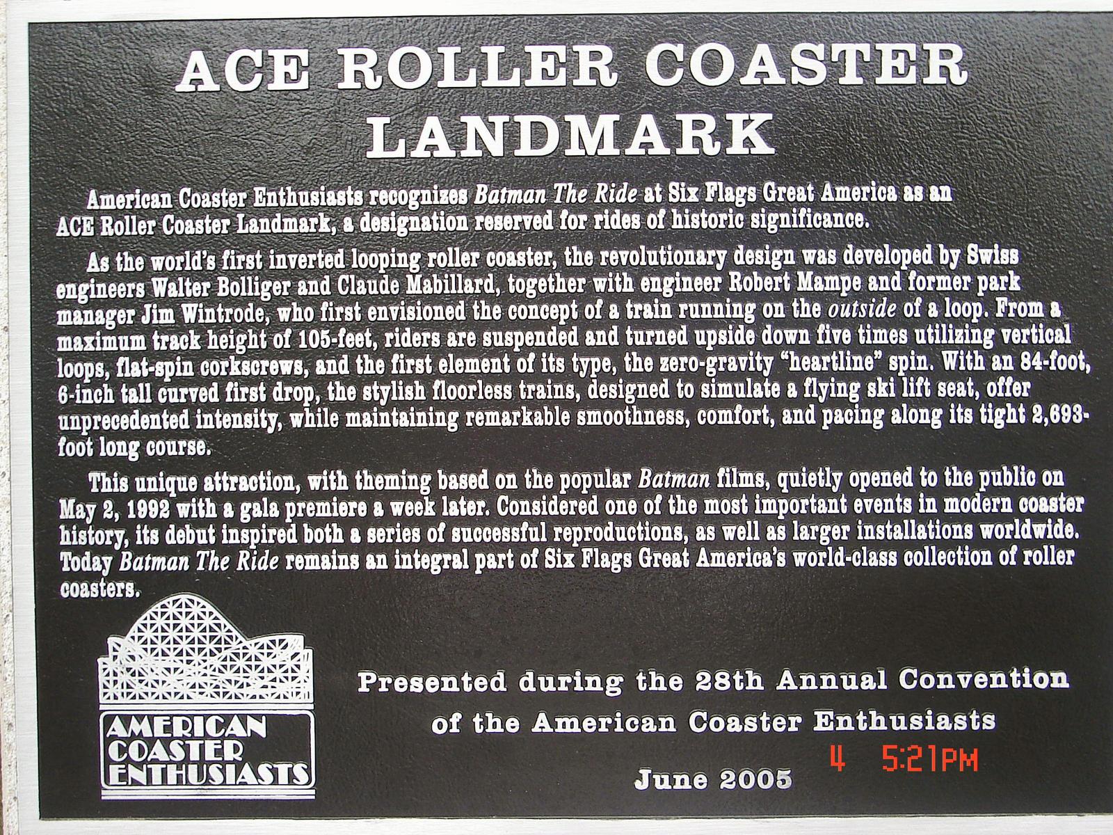 Batman: The Ride ACE Coaster Landmark Plaque