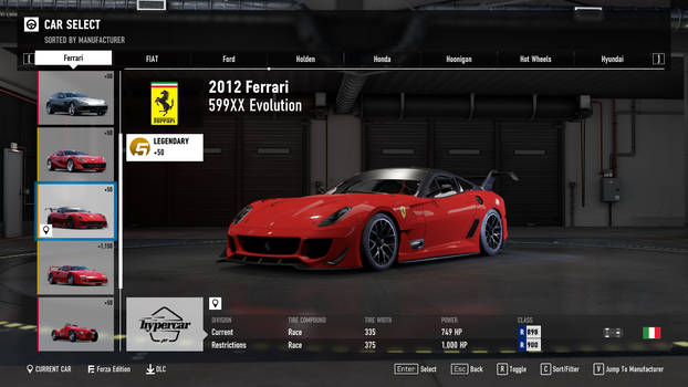 2012 Ferrari 599XX Evolution - Forza Motorsport 7