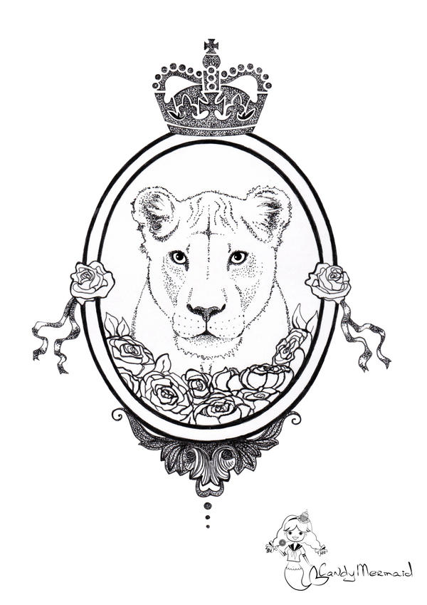 Lioness. Sketch for tatoo by CandyMermaid on DeviantArt Queen Lioness Drawing