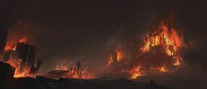 Burning village - final piece