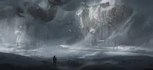 Huge trees on frozen lake 2