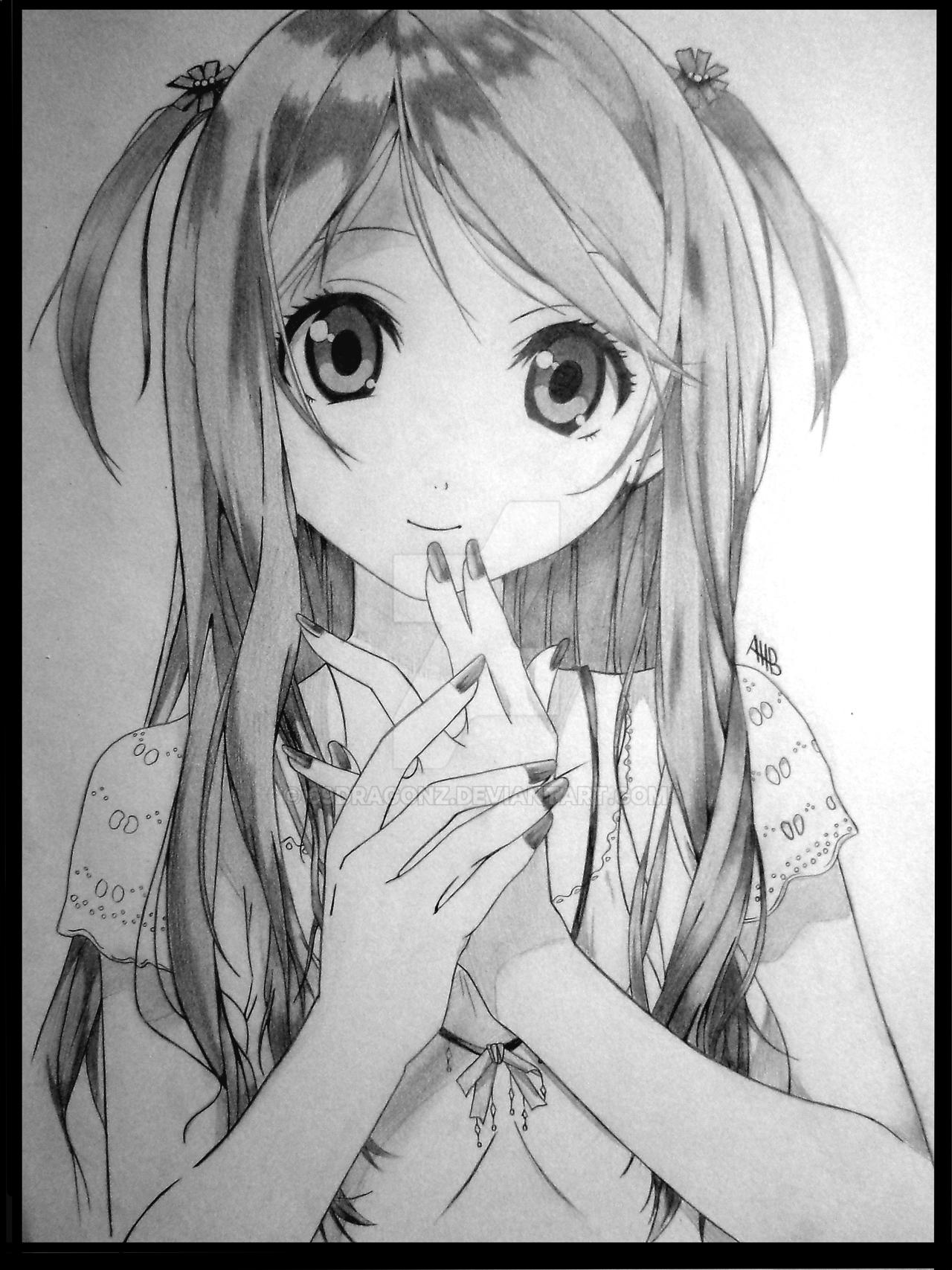 drawing of a cute girl by 69dragonz on DeviantArt