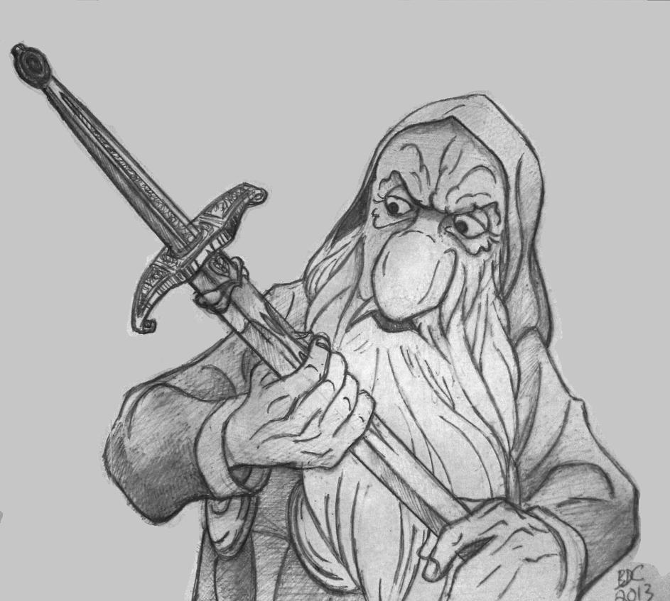 Rankin Bass_The Hobbit_Thorin claims Orcrist by BecDeCorbin