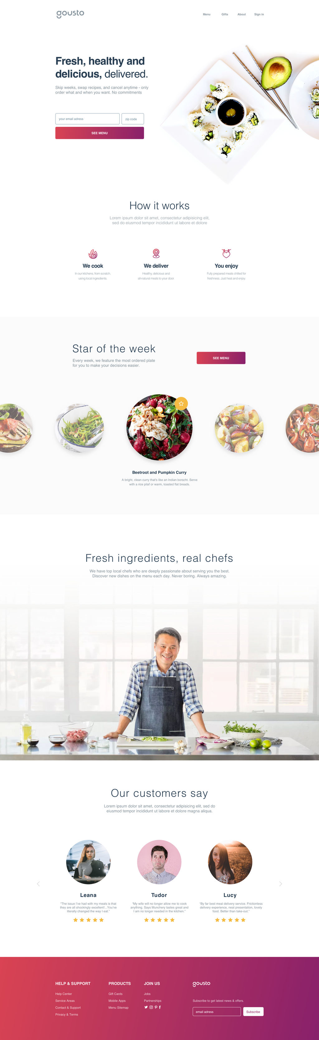 Food Delivery Landing Page By Razvantugui On Deviantart