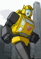 Colours on Andrew Wildman's Bumblebee sketch by hellbat