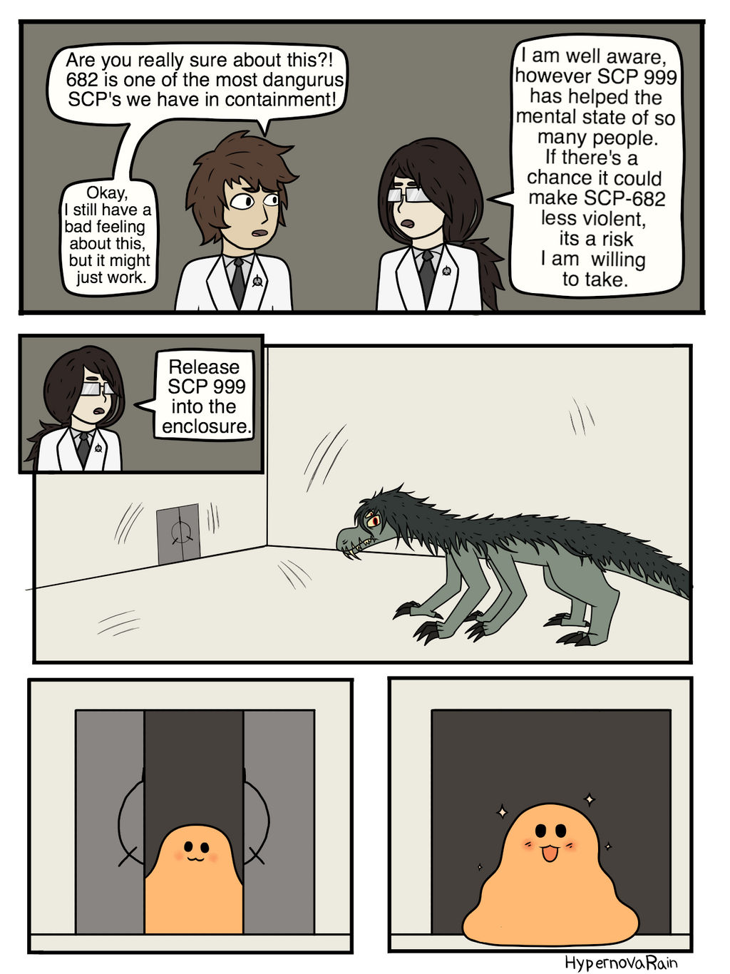 SCP-682 and SCP-999 page 1 by HypernovaRain on DeviantArt