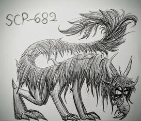 SCP-682 Inktober by HypernovaRain
