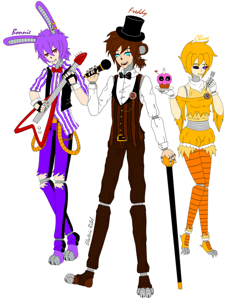 Fnaf bonnie freddy and chica in human form by xxelectric ribelxx on