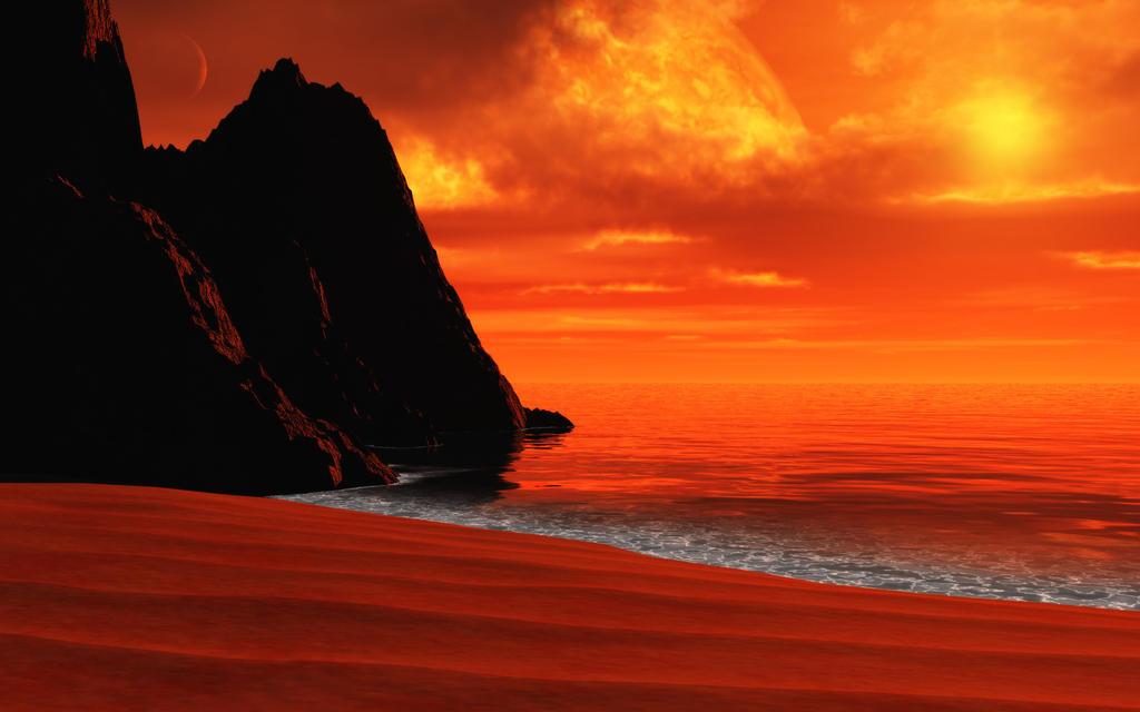 Distant beach by relhom