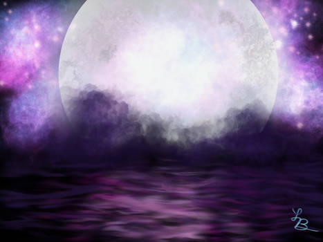 Purple Sky - Full Moon Over Water