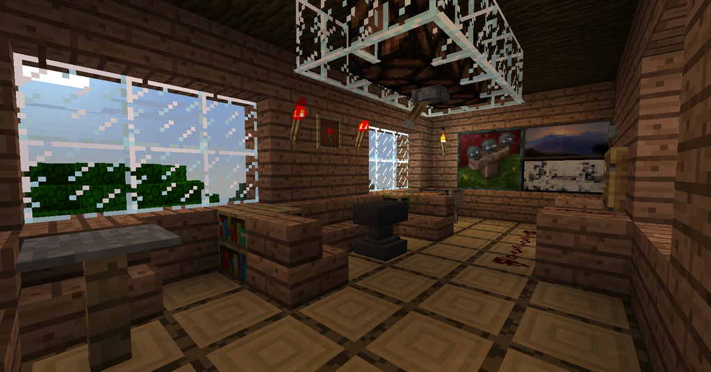 Minecraft tree house the living room by trancendency on for Minecraft house interior living room