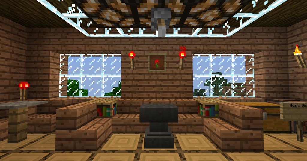 Minecraft tree house the living room wallpaper by for A living room in minecraft