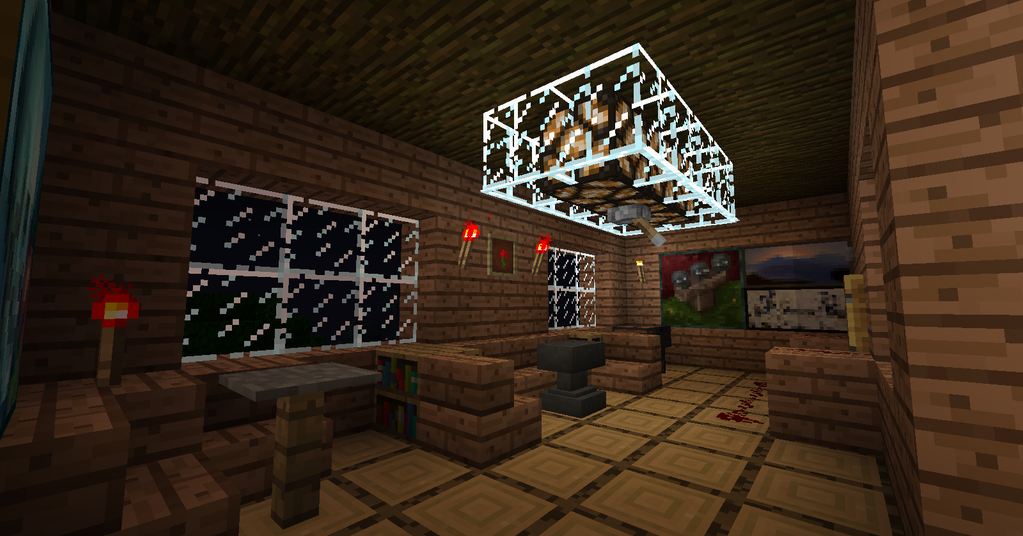 Minecraft tree house nighttime living room by for A living room in minecraft
